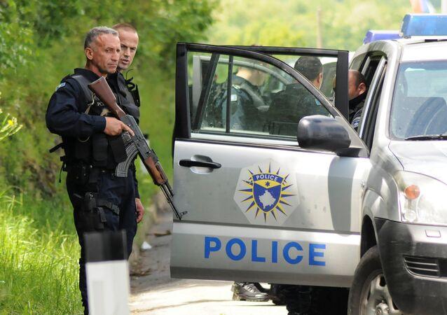 Kosovo police secure the area near the town of Zubin Potok, Kosovo, May 28, 2019