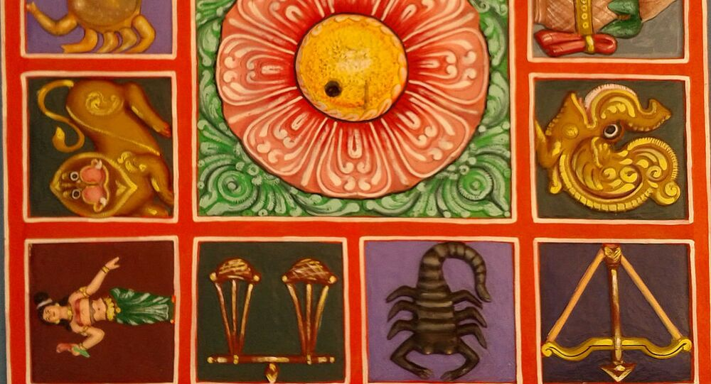 Zodiac symbols painted Relief on the terrace of a Gopuram at Kanipakam Lord Shiva temple