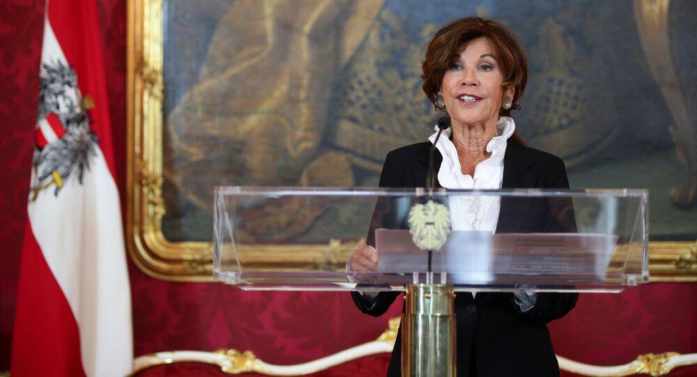 Designated Chancellor Brigitte Bierlein speaks during a news conference in Vienna, Austria, May 30, 2019