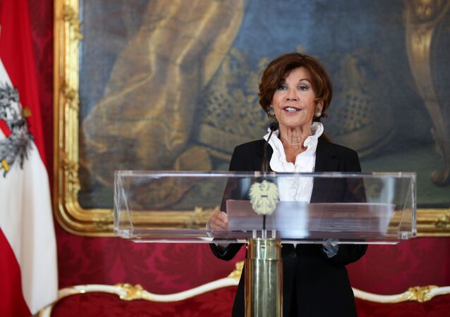 Designated Chancellor Brigitte Bierlein speaks during a news conference in Vienna, Austria, May 30, 2019