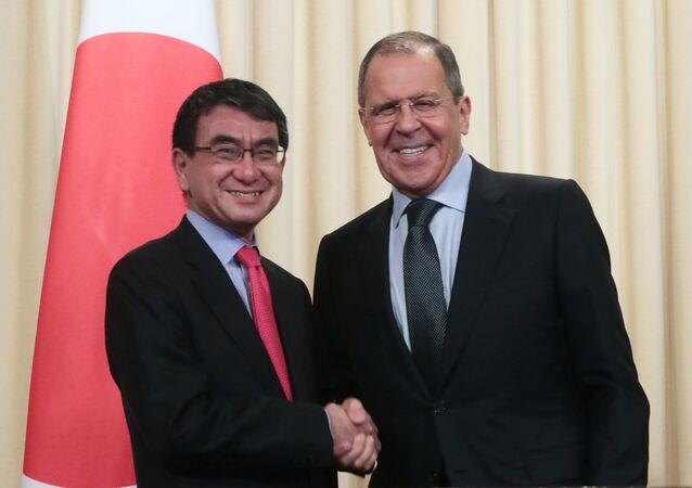 Russia's Foreign Minister Sergei Lavrov and Japan's Foreign Minister Taro Kono