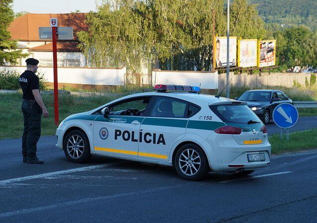 Slovak police car and police officer on duty