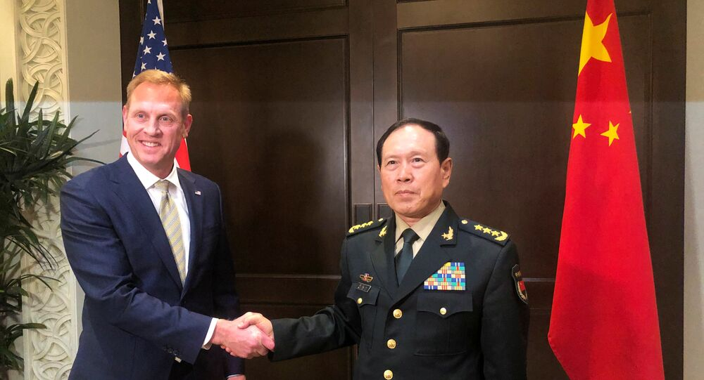 Acting US Defence Secretary Patrick Shanahan and Chinese Defence Minister Wei Fenghe