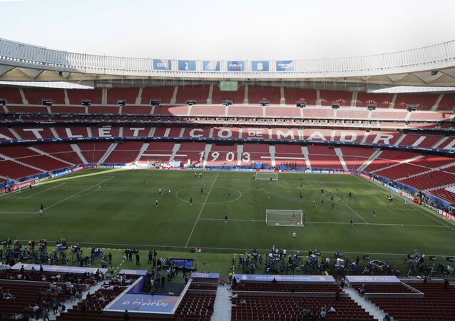 Tottenham players train during a training session at the Wanda Metropolitano stadium in Madrid, Friday May 31, 2019.
