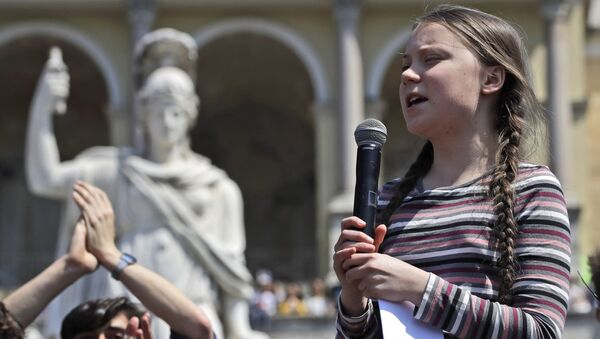 Swedish teenager and environmental activist Greta Thunberg speaks during a Fridays for Future rally, in Rome, Friday, April 19, 2019. Thunberg was in Rome to headline Friday's school strike, the growing worldwide youth movement she spearheaded, demanding faster action against climate change.Swedish teenager and environmental activist Greta Thunberg speaks during a Fridays for Future rally, in Rome, Friday, April 19, 2019. Thunberg was in Rome to headline Friday's school strike, the growing worldwide youth movement she spearheaded, demanding faster action against climate change. - Sputnik International