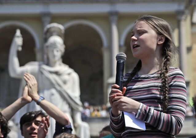 Swedish teenager and environmental activist Greta Thunberg speaks during a Fridays for Future rally, in Rome, Friday, April 19, 2019. Thunberg was in Rome to headline Friday's school strike, the growing worldwide youth movement she spearheaded, demanding faster action against climate change.