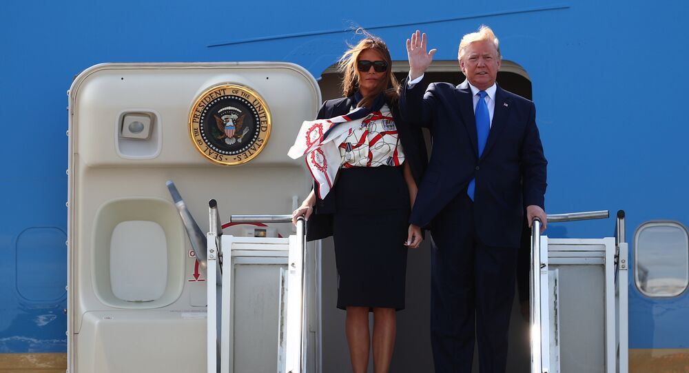U.S. President Donald Trump and First Lady Melania Trump arrive aboard Air Force One for their state visit to Britain, at Stansted Airport near London, Britain, June 3, 2019