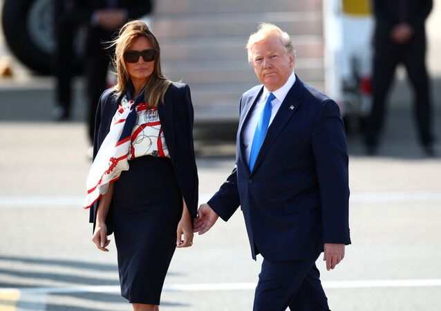 U.S. President Donald Trump and First Lady Melania Trump arrive for their state visit to Britain, at Stansted Airport near London, Britain, June 3, 2019