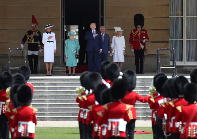 U.S. President Donald Trump and First Lady Melania Trump attend a welcome ceremony with Britain's Prince Charles and Camilla, Duchess of Cornwall, at Buckingham Palace, in London, Britain, June 3, 2019