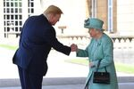 Britain's Queen Elizabeth II greets U.S. President Donald Trump as he arrives for the Ceremonial Welcome at Buckingham Palace, in London, Britain June 3, 2019