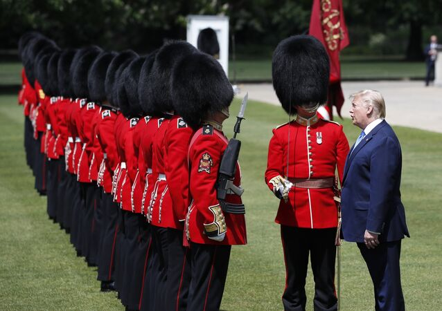 President Donald Trump inspect the Guard of Honor at Buckingham Palace, Monday, June 3, 2019, in London