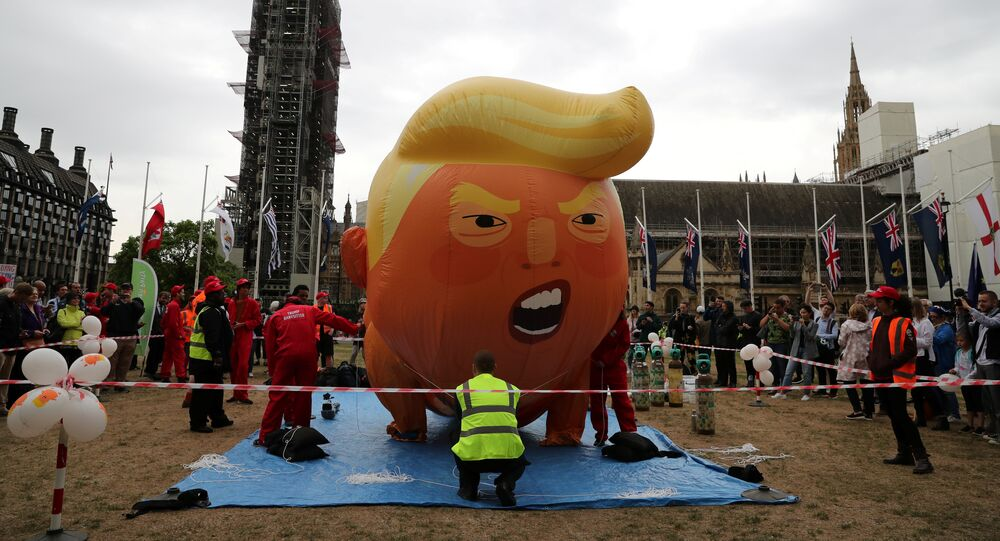 A Baby Trump balloon inflates, during a protest in London, Britain, June 4, 2019