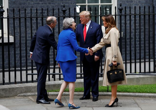 U.S. President Donald Trump and first lady Melania Trump meet Britain's Prime Minister Theresa May and her husband Philip at Downing Street, as part of Trump's state visit in London, Britain, June 4, 2019.