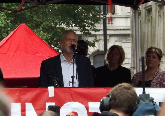 Jeremy Corbyn at anti-Trump rally