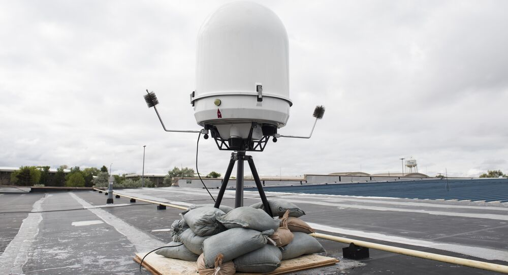 A Portable Doppler Radar provides weather surveillance May 25, 2019, at Mountain Home Air Force Base, Idaho. The is the first time the Doppler system has been installed on a Continental United States base.