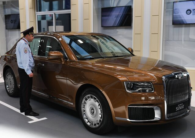 An Aurus Senate limousine is displayed at ExpoForum Convention and Exhibition Centre ahead of the St. Petersburg International Economic Forum (SPIEF) that will be held on June 6-8, in St. Petersburg, Russia