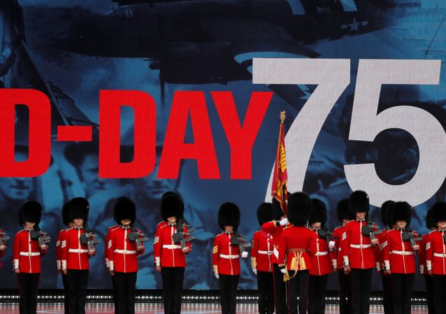 Soldiers stay stand for the event to commemorate the 75th anniversary of D-Day, in Portsmouth, Britain, June 5, 2019