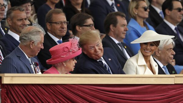 Britain's Prince Charles, Queen Elizabeth II, President Donald Trump and first lady Melania Trump, from left, attend an event to mark the 75th anniversary of D-Day in Portsmouth, England Wednesday, June 5, 2019 - Sputnik International