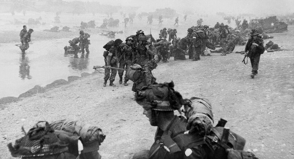British troops on Sword Beach in northern France on 6 June 1944