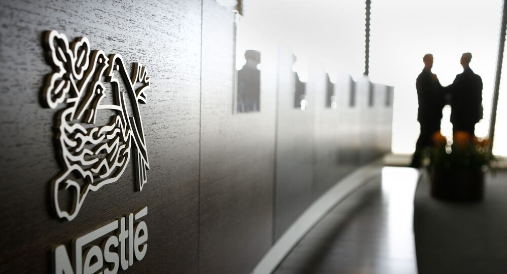 The Logo of food and drinks giant Nestle, is seen at its headquarter in Vevey, Switzerland, on February 22, 2007. During the first nine months of 2007, consolidated sales of the Nestle Group amounted to CHF 78.7 billion, an increase of +9% over the comparable period of 2006, as the company reported on Thursday, October 18, 2007.