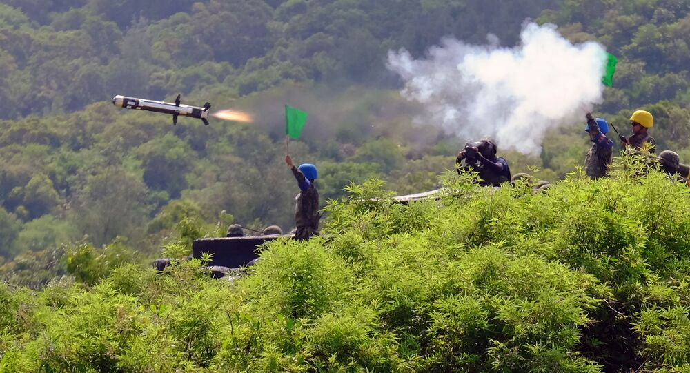 Taiwanese soldiers launch a US-made Javelin missile during the annual Han Guang life-fire drill in southern Pingtung on August 25, 2016