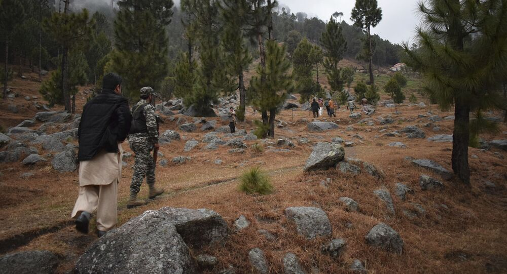 Pakistani reporters and troops visit the site of an Indian airstrike in Jaba, near Balakot, Pakistan, Tuesday, Feb. 26, 2019