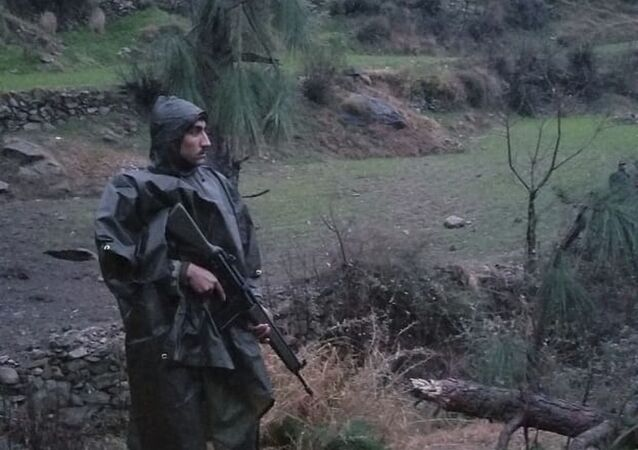 A Pakistani soldier stands guard in the area where Indian jets strike in Jaba near Balakot, in Pakistan, Tuesday, Feb. 26, 2019