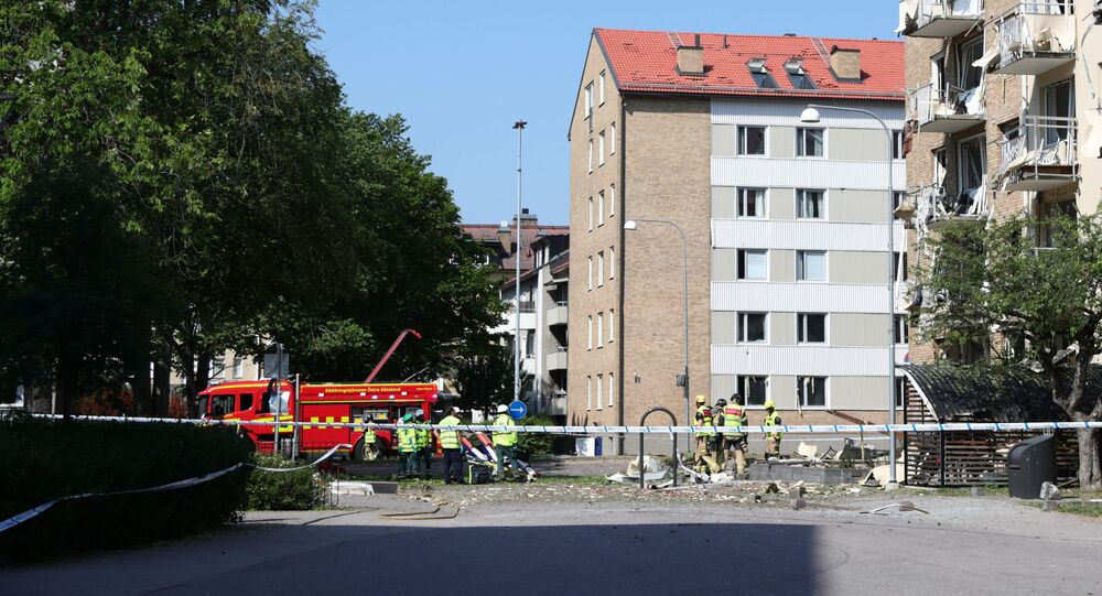 Rescue personnel work at the site of an explosion in Linkoping, Sweden June 7, 2019