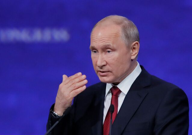 Russian President Vladimir Putin delivers a speech during a session of the St. Petersburg International Economic Forum (SPIEF), Russia 7 June 2019