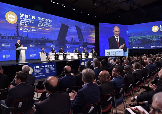 Russian President Vladimir Putin delivers a speech during a session of the St. Petersburg International Economic Forum (SPIEF), Russia June 7, 2019