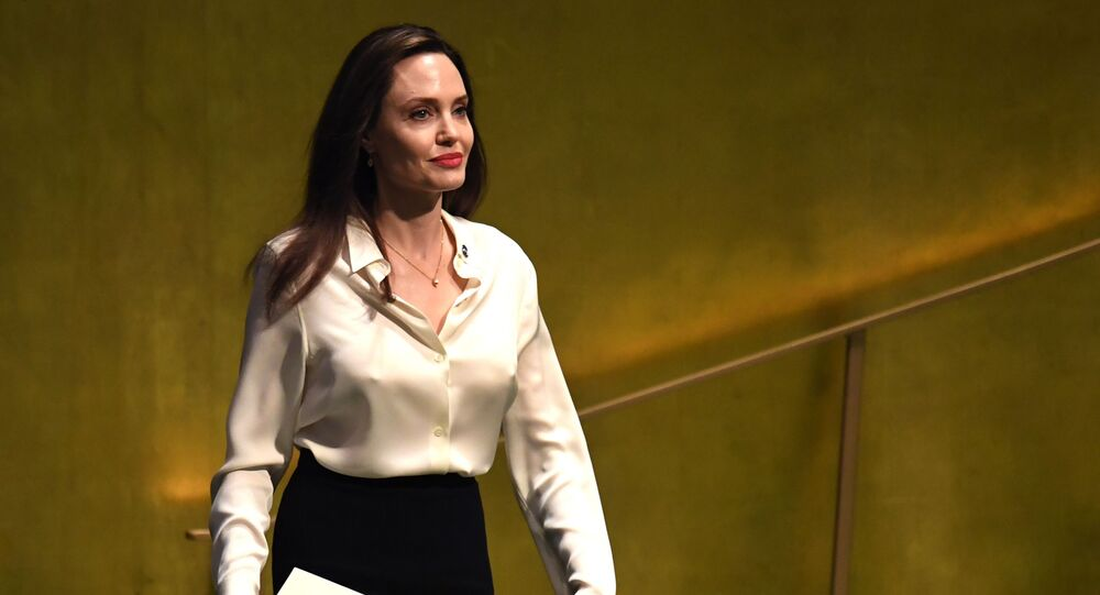 Angelina Jolie, actress and UNHCR Special Envoy, arrives to address a meeting of the UN Peacekeeping Ministerial: Uniformed Capabilities, Performance and Protection at the United Nations in New York March 29, 2019 in New York City