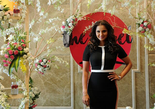 Indian tennis player Sania Mirza poses during a promotional event in Chennai on April 15, 2017
