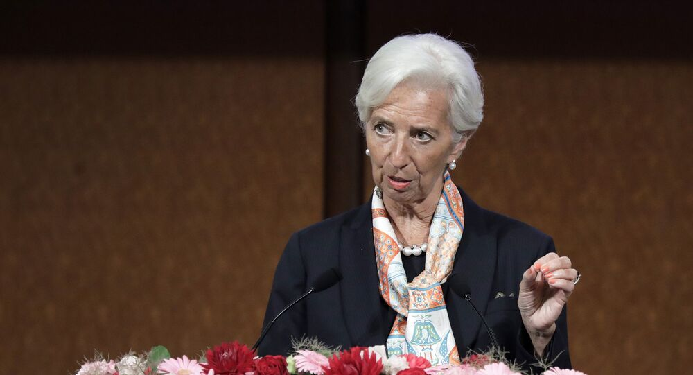 IMF managing director Christine Lagarde speaks at a G20 high-level seminar on the sidelines of the G20 finance ministers and central bank governors meeting in Fukuoka on June 8, 2019.