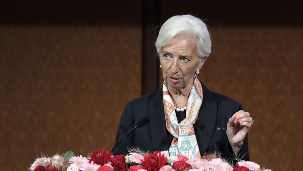 IMF managing director Christine Lagarde speaks at a G20 high-level seminar on the sidelines of the G20 finance ministers and central bank governors meeting in Fukuoka on June 8, 2019. - Sputnik International