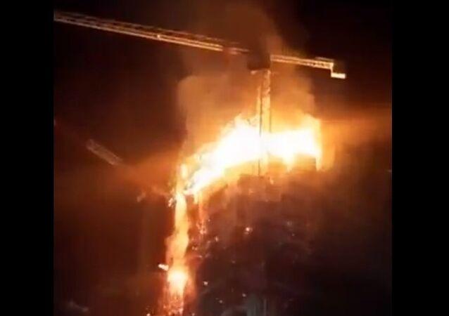 Skyscraper on fire in Warsaw