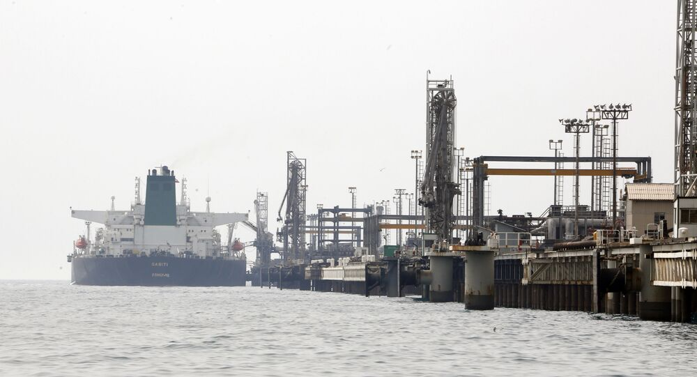 A picture taken on March 12, 2017, shows an Iranian tanker docking at the platform of the oil facility in the Khark Island, on the shore of the Gulf.