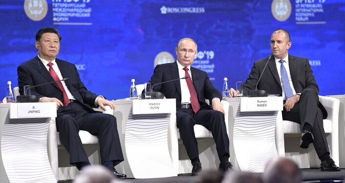 Russian President Vladimir Putin, Chinese President Xi Jinping and President of Bulgaria Rumen Radev on the SPIEF 2019