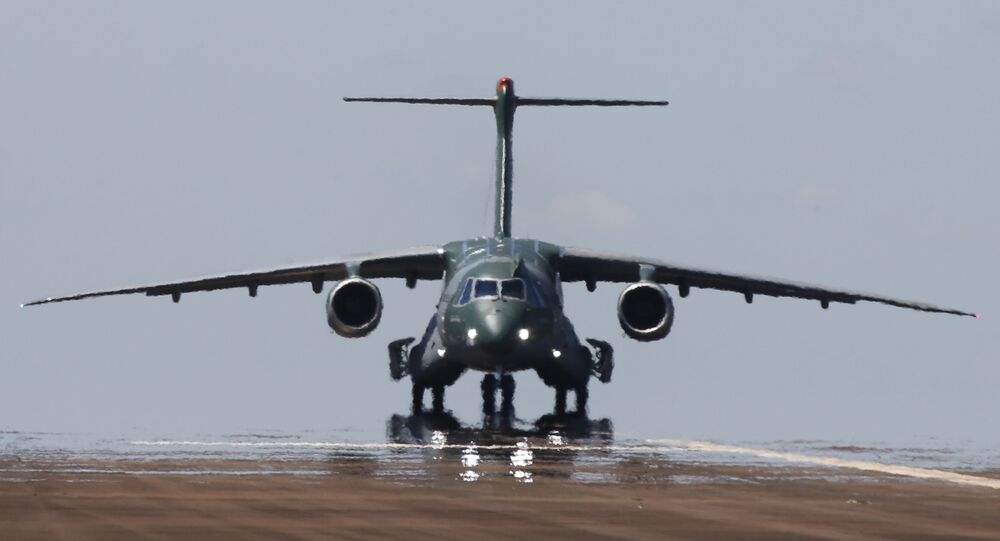 The new militar transport and  refueling aircraft KC-390 of the Embraer Brasilian aviation company is seen at the inauguration flight on Gaviao Peixoto, Sao Paulo, Brasil