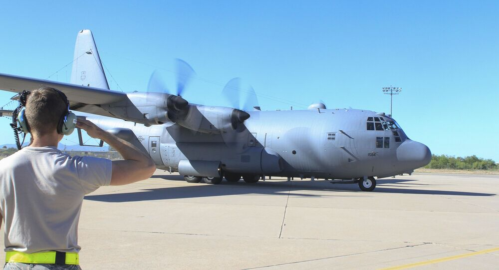 An EC-130H Compass Call prepares to take off to execute the first training mission with an upgraded cockpit acquired via the avionic viability program at Davis-Monthan Air Force Base
