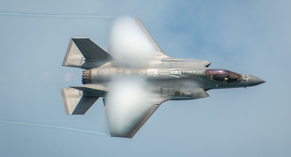 """U.S. Air Force Captain Andrew """"Dojo"""" Olson performs in a F-35A Lightning II in a demonstration during the Miami Beach Air and Sea Show over Miami Beach, Florida, U.S. May 25, 2019"""