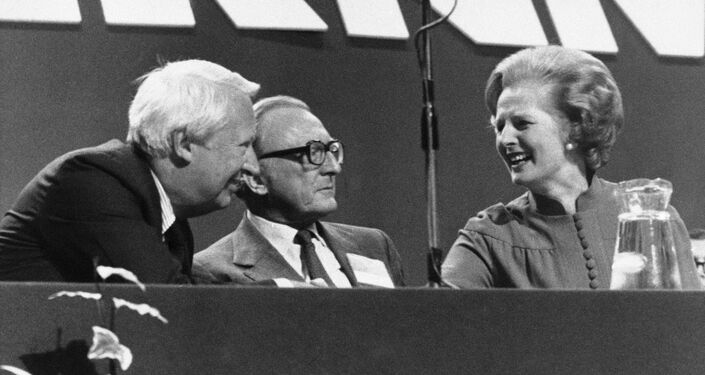 shares a joke with her predecessor Edward Heath (left) and Lord Carrington at the Conservative Party conference in 1978