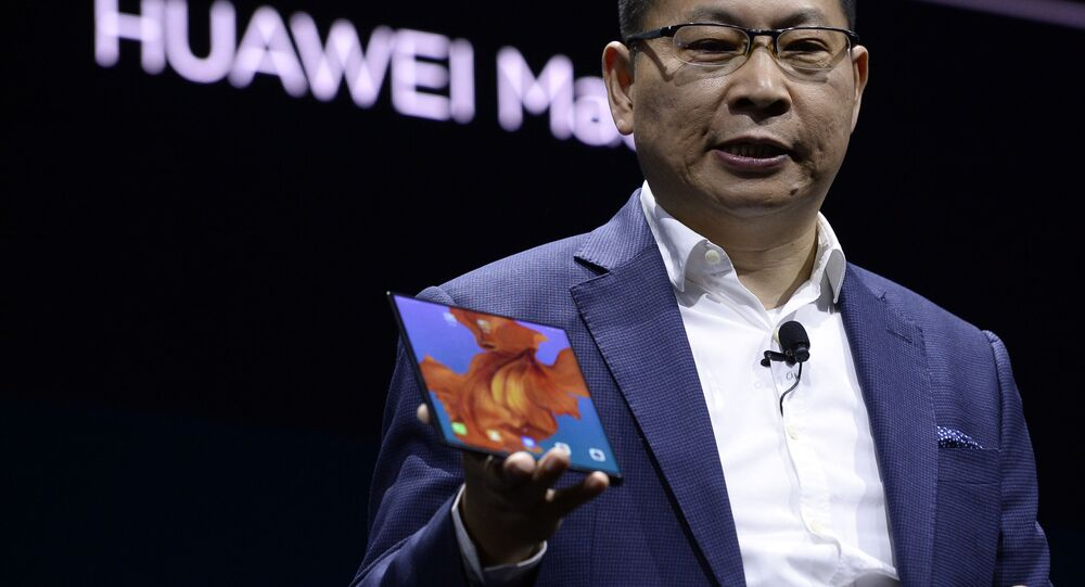 Richard Yu, the CEO of Huawei's consumer products division presents the new HUAWEI Mate X foldable smartphone at the Mobile World Congress (MWC), on the eve of the world's biggest mobile fair, on February 24, 2019 in Barcelona