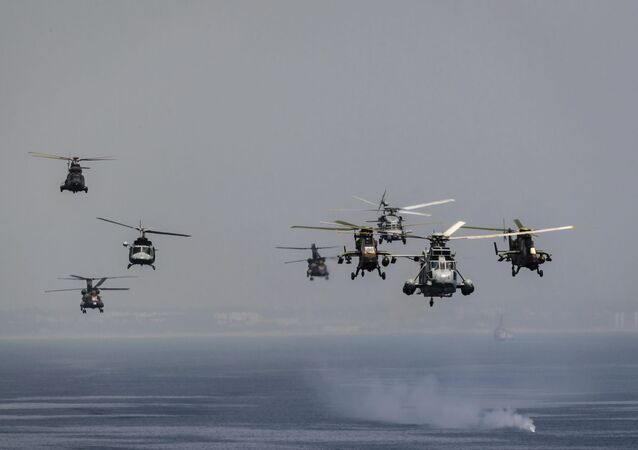 In this photo taken on Monday 23 April 2018, Spain's armed forces put on a show of naval and aerial manoeuvres off Rota, southern Spain