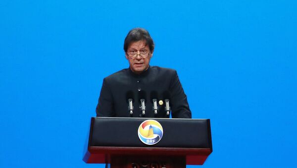 Pakistani Prime Minister Imran Khan delivers his speech for the opening ceremony of the second Belt and Road Forum for International Cooperation (BRF) - Sputnik International