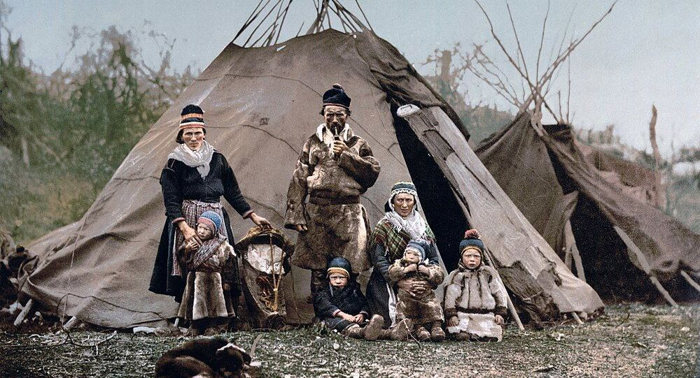 A Sami indigenous northern European family in Norway around 1900