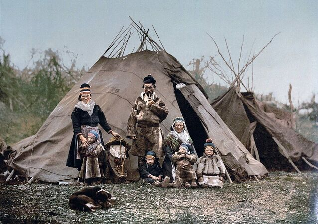 An indigenous Sami family in northern Europe.