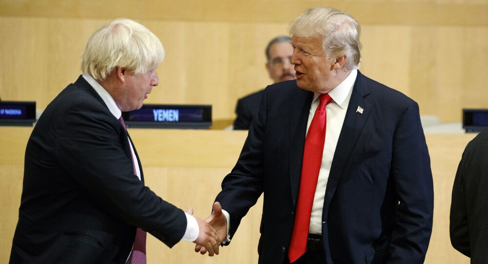 President Donald Trump shakes hands with British Foreign Secretary Boris Johnson during the Reforming the United Nations: Management, Security, and Development meeting during the United Nations General Assembly, Monday, Sept. 18, 2017, in New York.