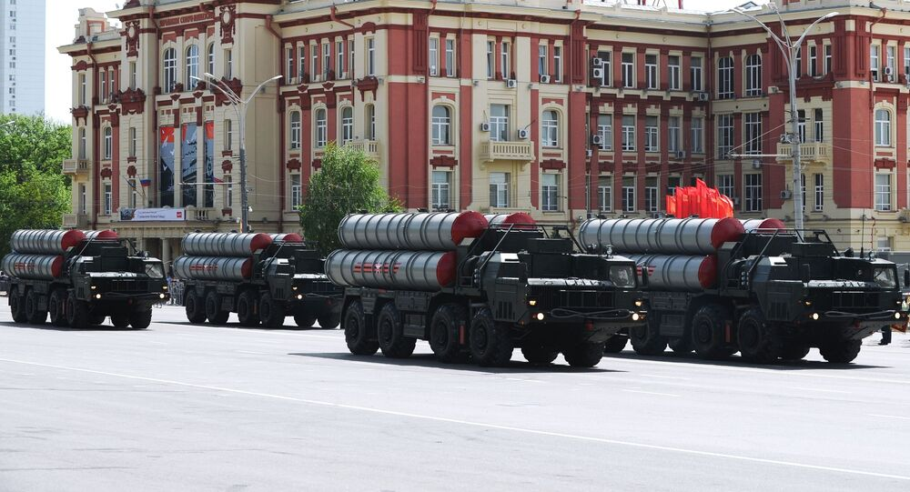 S-400 Triumph anti-aircraft missile complex during a military parade marking the centenary of the formation of the Southern Military District, Rostov-on-Don