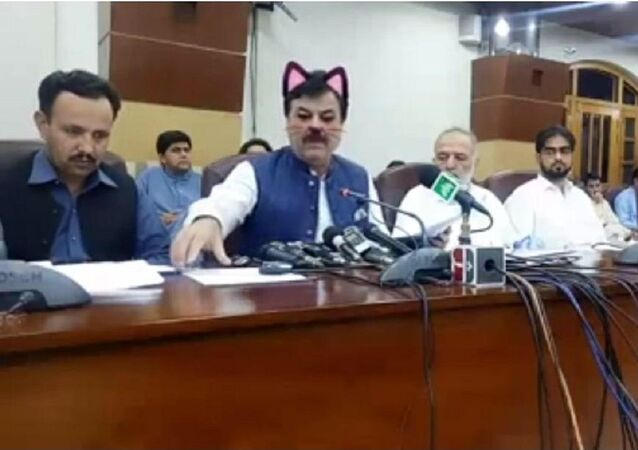 Screenshot from live stream of Pakistani province of Khyber Pakhtunkhwa government presser