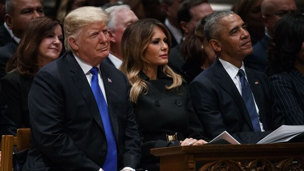 President Donald Trump, first lady Melania Trump, and former President Barack Obama watch during the State Funeral for former President George H.W. Bush at the National Cathedral, Wednesday, Dec. 5, 2018, in Washington. (AP Photo/Evan Vucci) - Sputnik International
